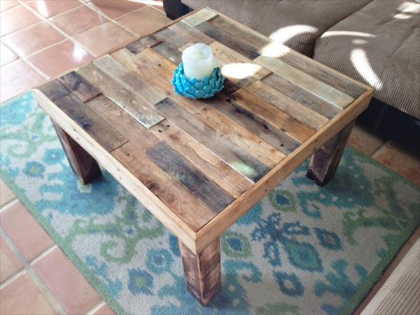 rustic square top pallet coffee table