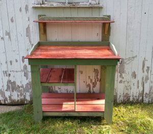 handmade pallet and maple potting bench