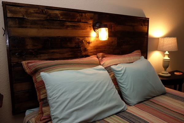 diy pallet wooden headboard with lights