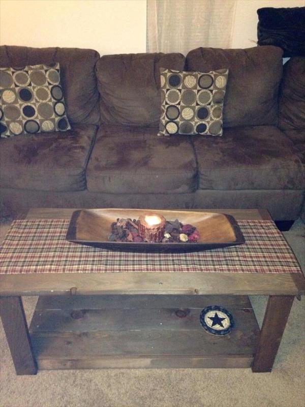 Repurposed pallet living room coffee table