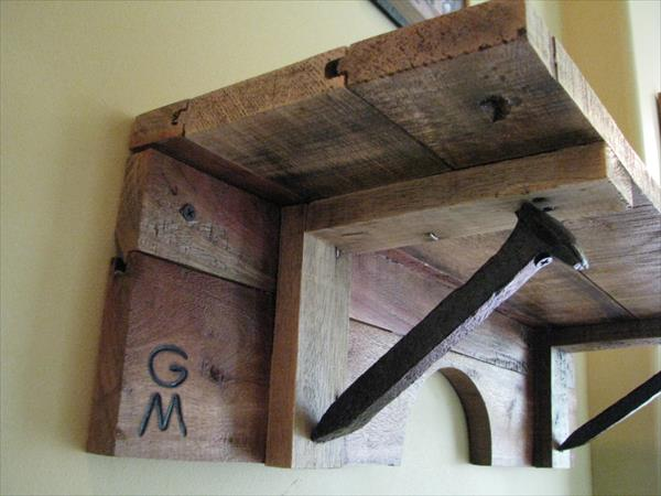 rustic railroad spike pallet shelf
