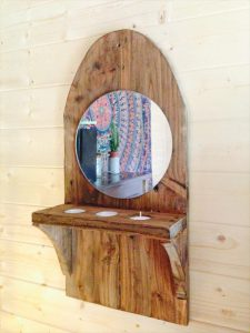 Pallet Wall Mirror With Candle Holder
