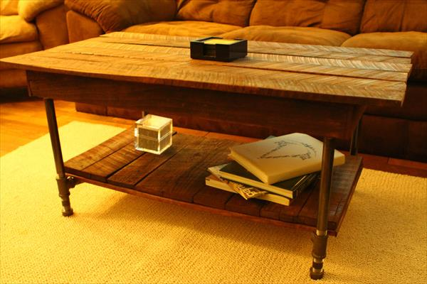 pallet coffee table with metal pipe legs