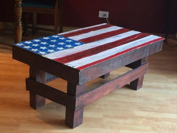 Diy Wooden Pallet Coffee Table With Painted American Flat Top