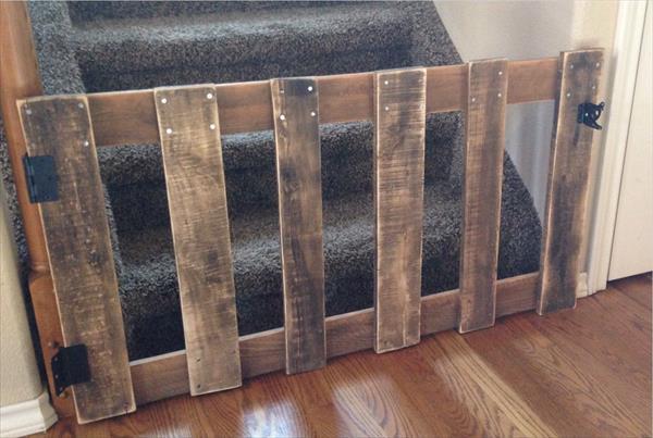 wooden pallet rustic yet sturdy stairway baby gate
