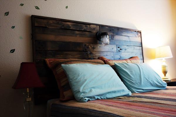 handcrafted pallet headboard with lights