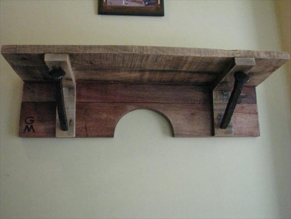 pallet and railroad spikes display shelf