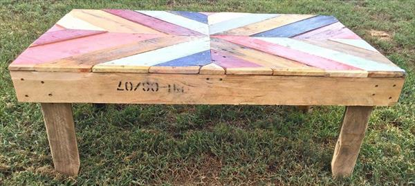 repurposed pallet double chevron pallet coffee table