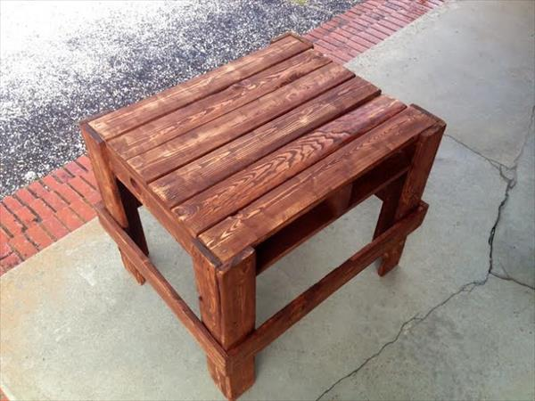 handmade wooden pallet side table or nightstand