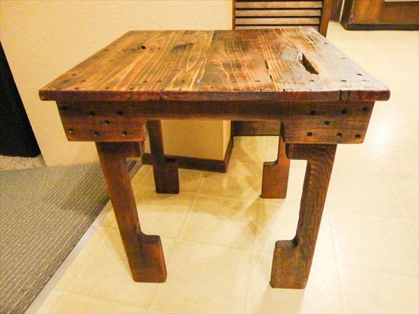 handmade wooden pallet side table