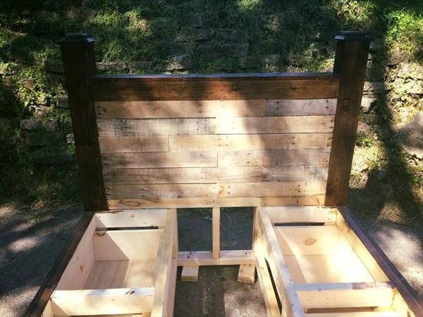 Regianed pallet bed frame drawers and headboard