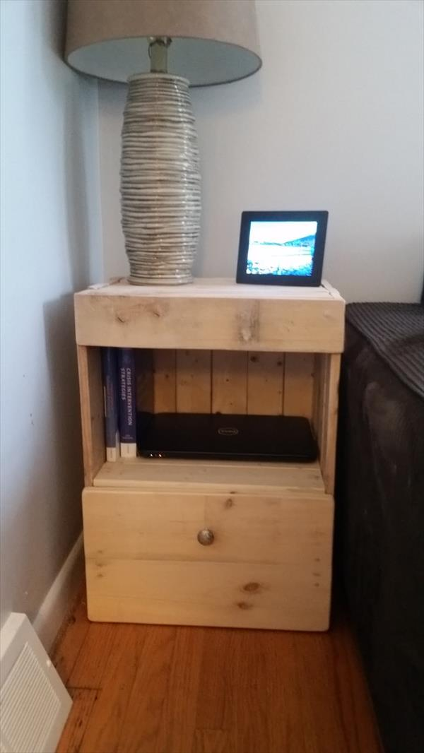 wooden pallet side table or nightstand