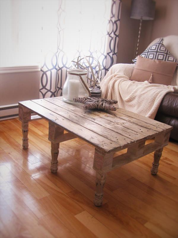 recycled pallet coffee table with reclaimed legs