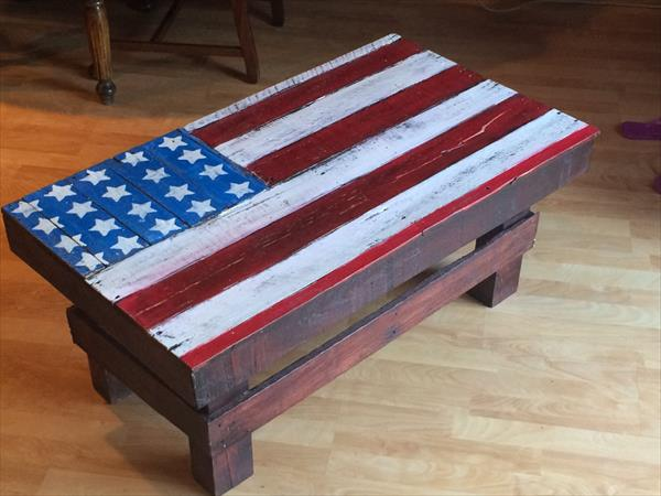 pallet coffee table with american flag