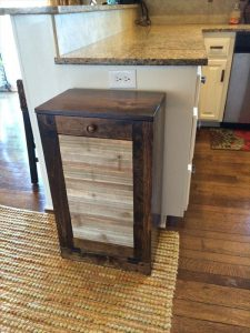 upcycled pallet kitchen trash bin