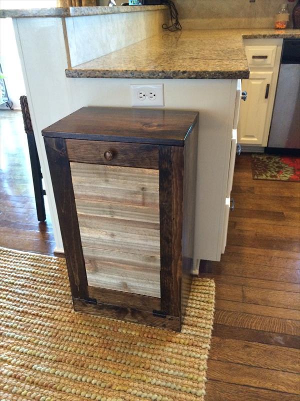 upcycled pallet kitchen trash bin