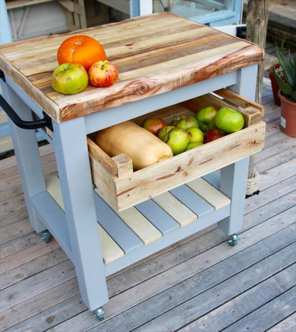 Pallet kitchen trolley