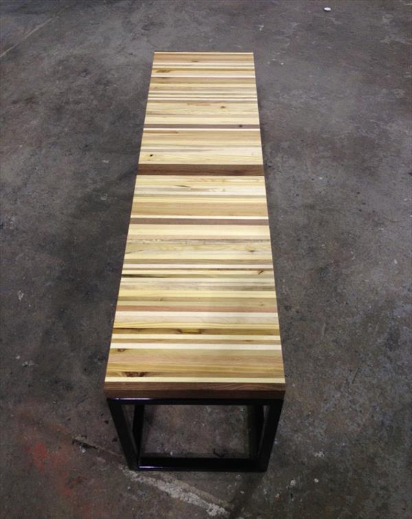 wooden pallet bench with metal base
