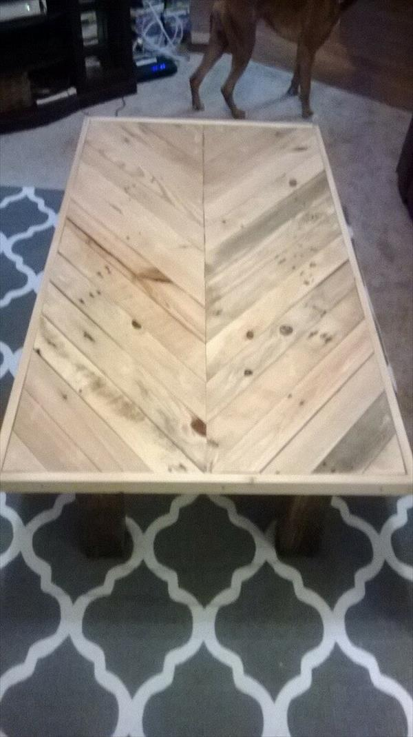 repurposed pallet chevron coffee table