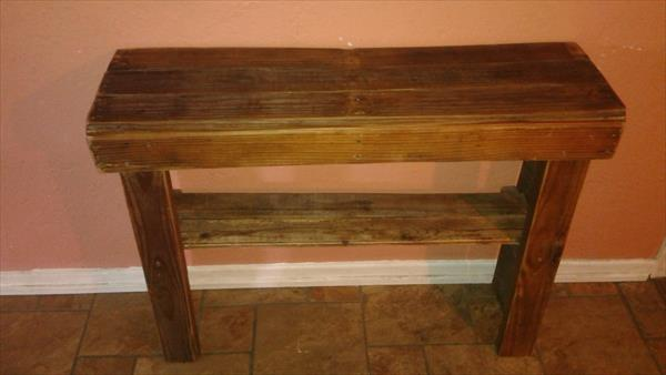 handmade wooden pallet hallway or console table