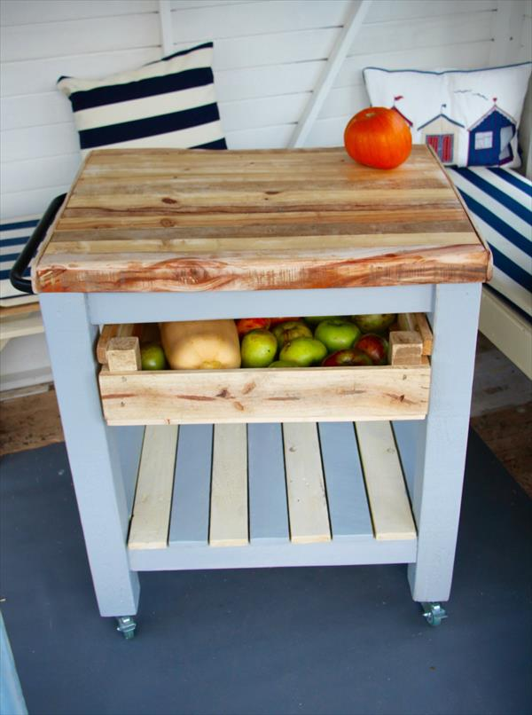 diy Pallet kitchen trolley