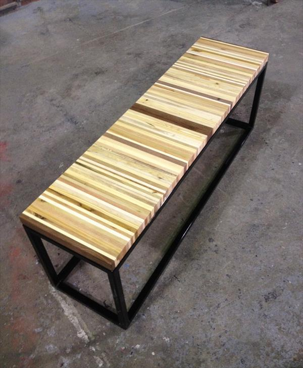 upcycled pallet bench with steel metal base