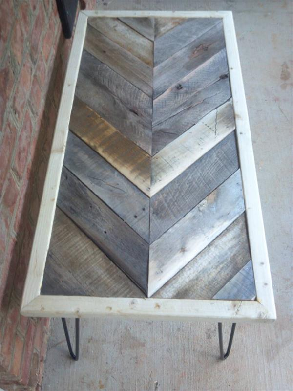 rustic pallet chevron coffee table with metal legs
