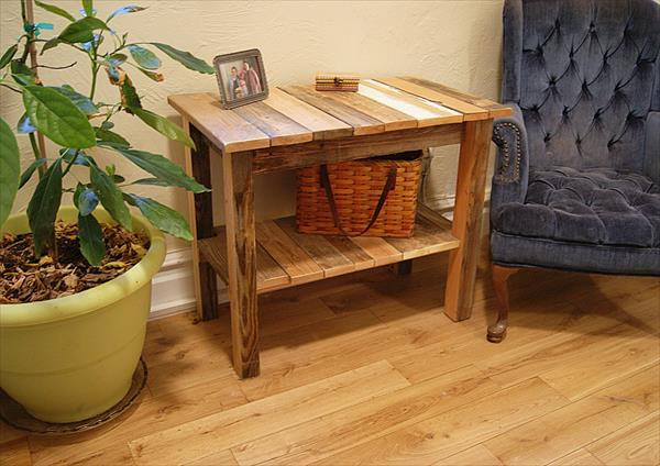 pallet end table with double shelves
