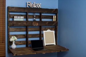 Brown stained pallet folding desk