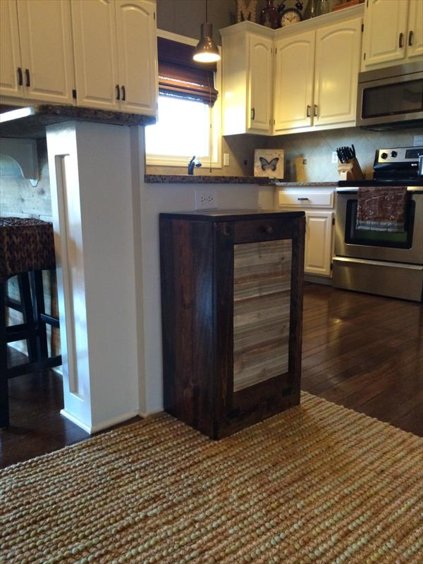 recycled pallet kitchen trash bin