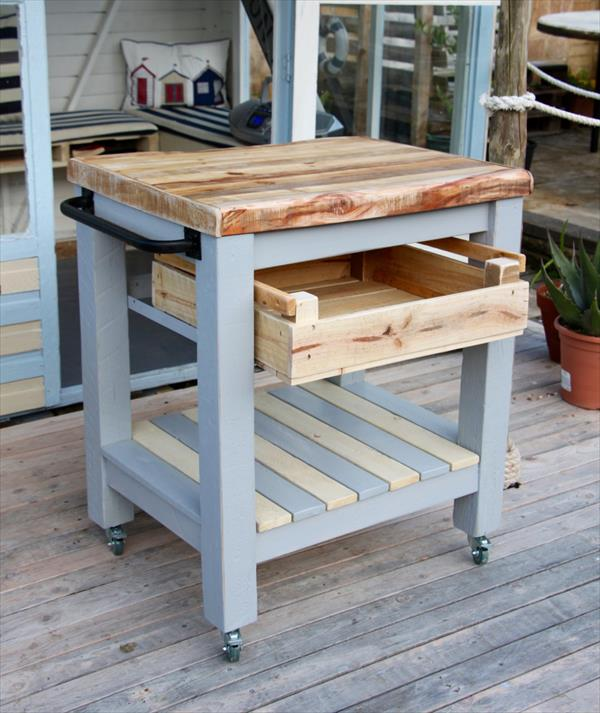 up-cycled Pallet kitchen trolley