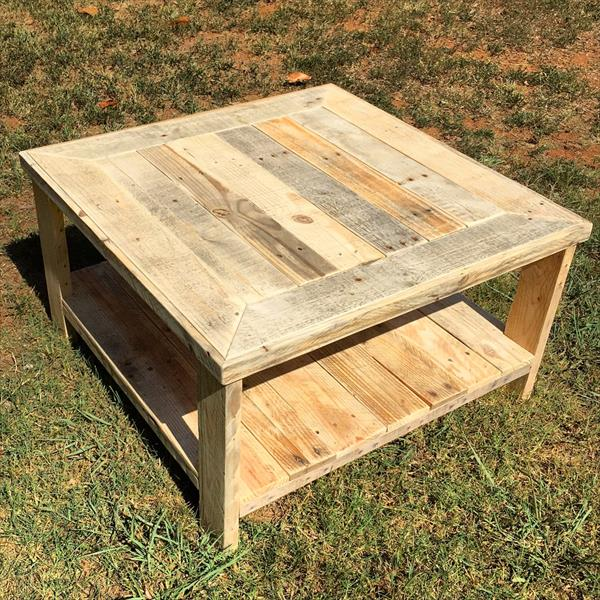 recycled pallet square coffee table