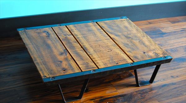 Pallet industrial skid coffee table pallet furniture plans for Skid pallet furniture