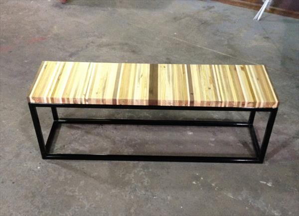 Diy Pallet Wood And Steel Bench Pallet Furniture Plans