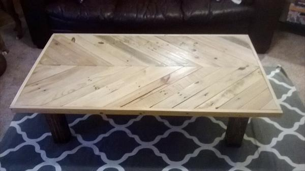 chevron coffee table made of pallets