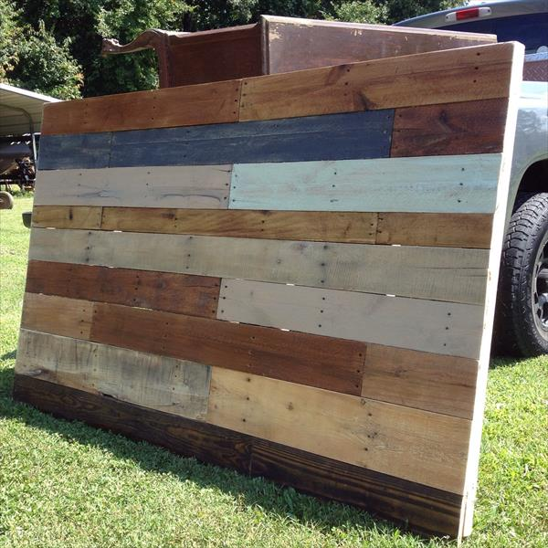 salvaged pallet headboard