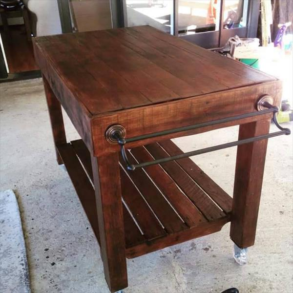 stained pallet kitchen island with wheels