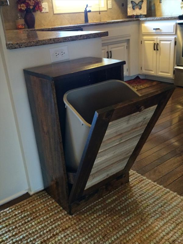 repurposed wooden pallet kitchen trash bin