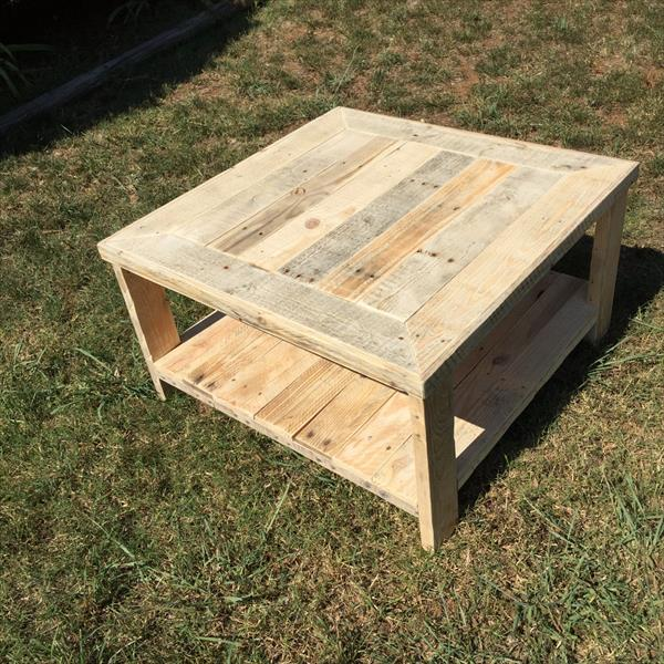 square wooden coffee table made of pallets
