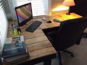 upcycled wooden pallet L-shape computer desk