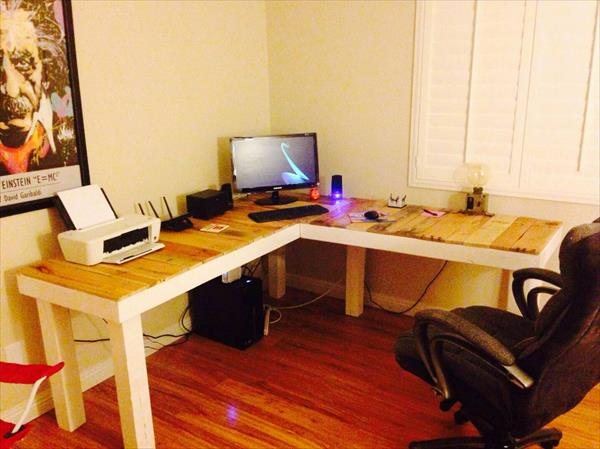 Diy Pallet L Shaped Computer Desk Pallet Furniture Plans
