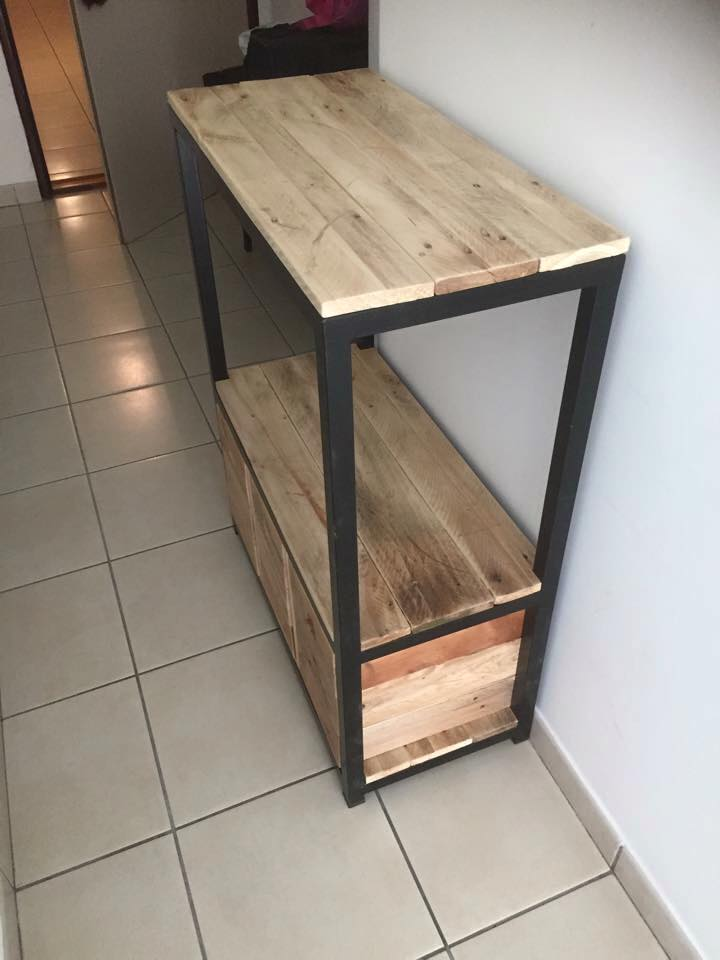 wooden pallet and metal entryway table