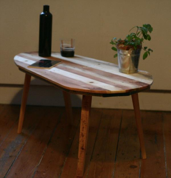 vintage inspired pallet coffee table with rounded top