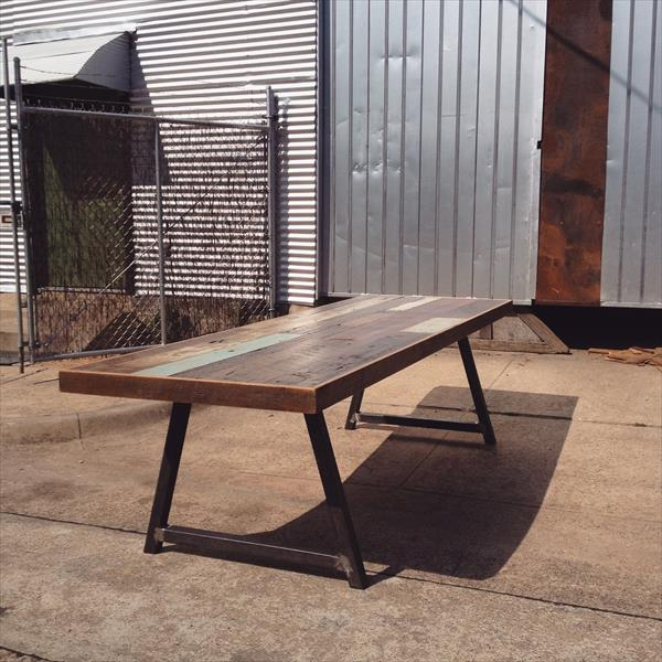 handmade wooden pallet dining table with metal legs,