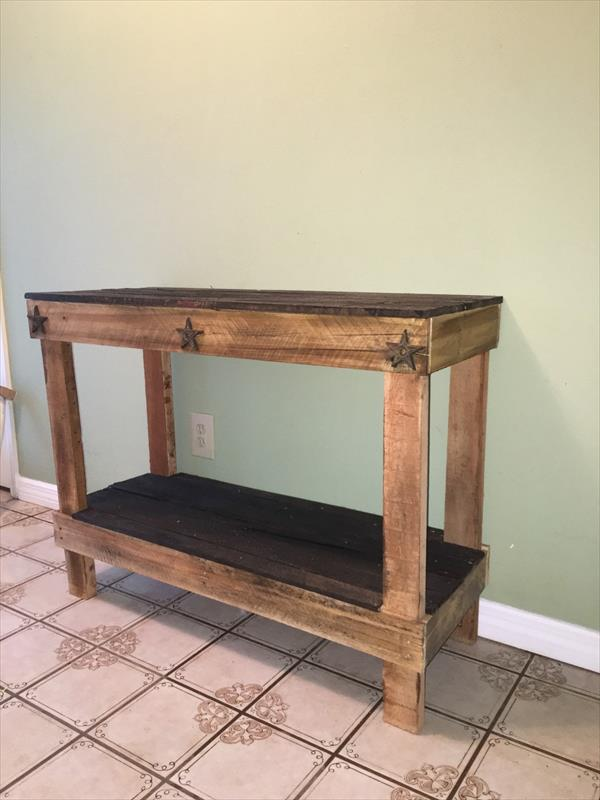 low cost wooden pallet console