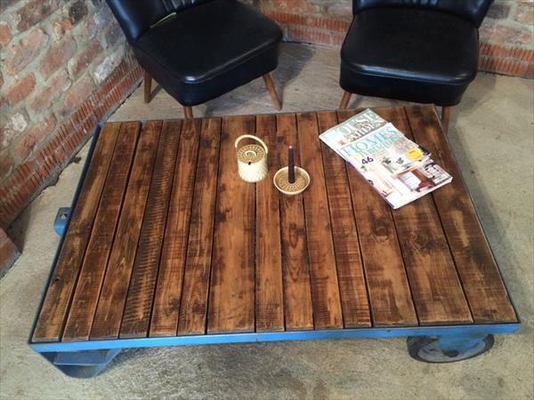 pallet factory cart style coffee table