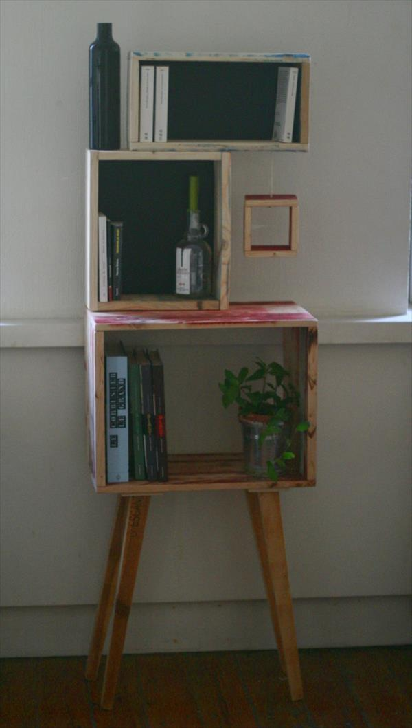 wooden pallet console with art style shelves