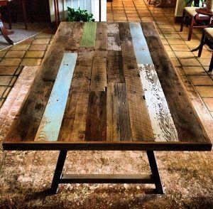 DIY Pallet Dining Table with A-Frame Metal Legs