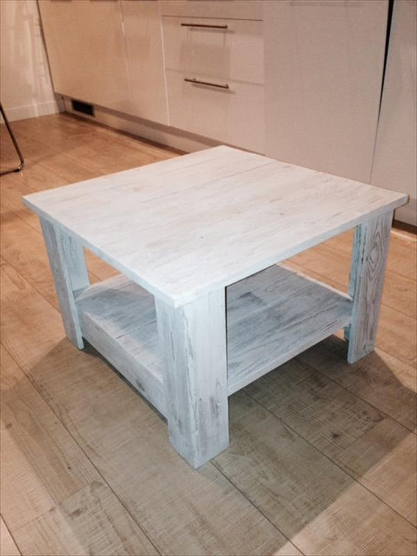 shabby chic white pallet coffee table with shelf