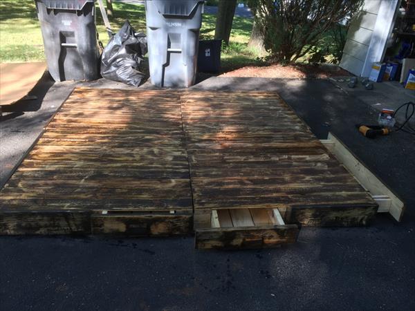 handmade wooden pallet extra large platform bed